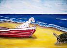 Schildkröte, Welle, Meer, Strand