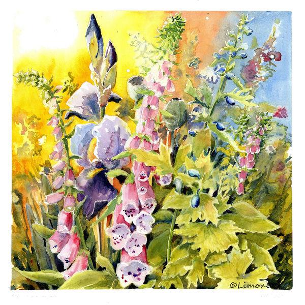 Rittersporn, Pleinair, Akelei, Blumen, Fingerhut, Aquarell