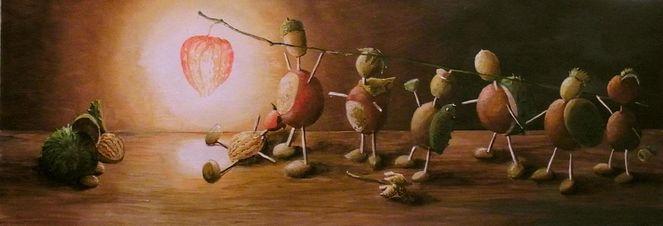 Stillleben, Kastanien, Kindheit, Herbst, Malerei