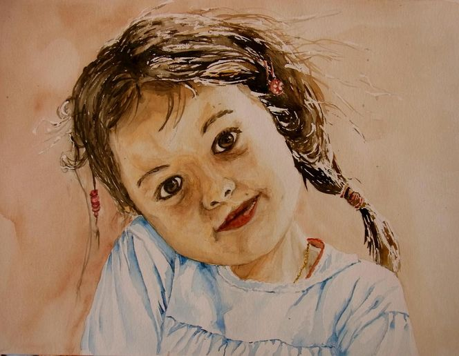 Portrait, Kind, Aquarell, Prinzessin