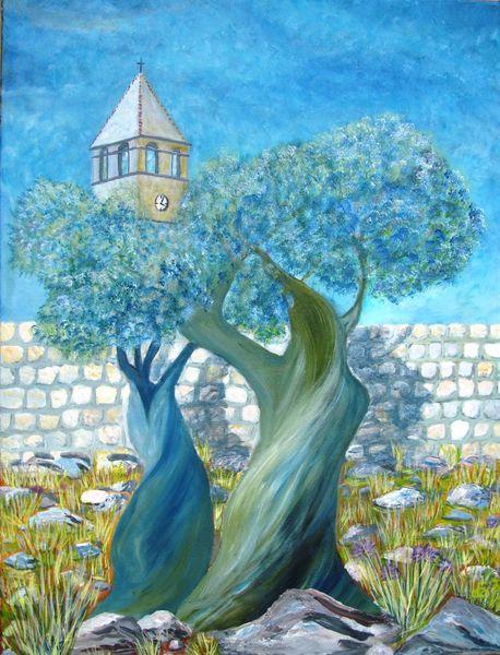 Olivenbaum, Sommer, Gras, Kroatien, Baum, Kirche