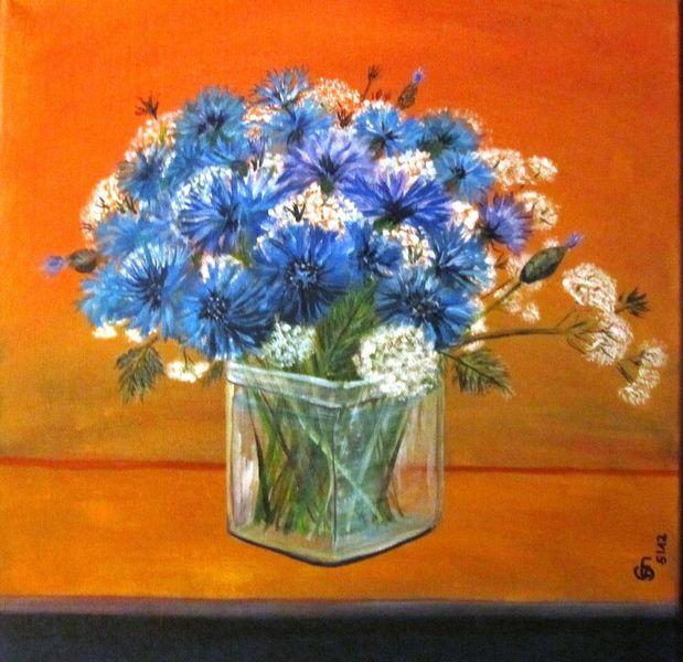 Kornblumen, Blau, Feld, Waldrand, Natur, Frühling