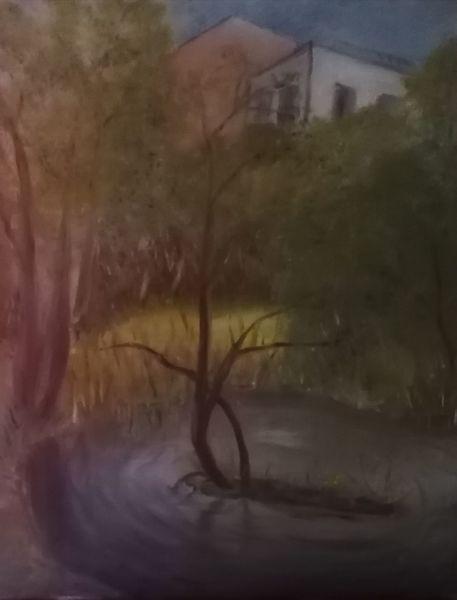 Vehlefanz, Sonne, Häuser, Wald, Teich, Malerei