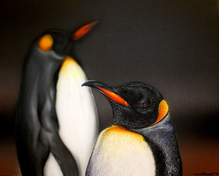 Pinguin, Königspinguine, Sprühdose, Airbrush, Malerei