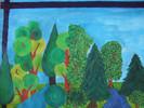 Landschaft, Grün, Wald, Malerei