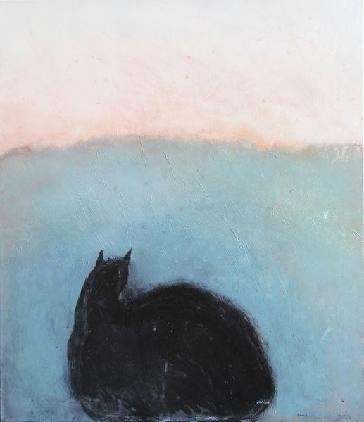 Abstrakt, Blau, Katze, Malerei, Prinzessin