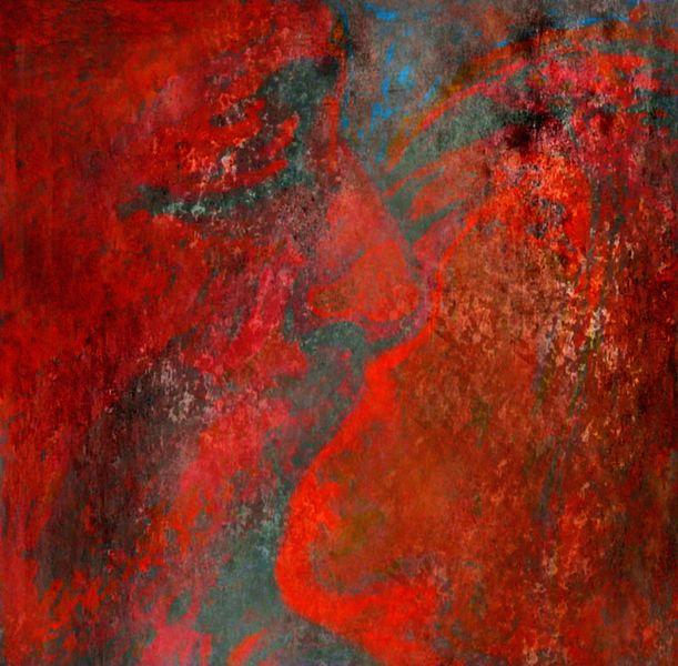 Malerei, Kuss, Paar, Gemälde, Digital, Rot