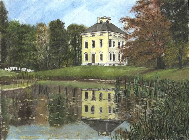 Landschaft, Brücke, See, Haus, Spiegelung, Gelb
