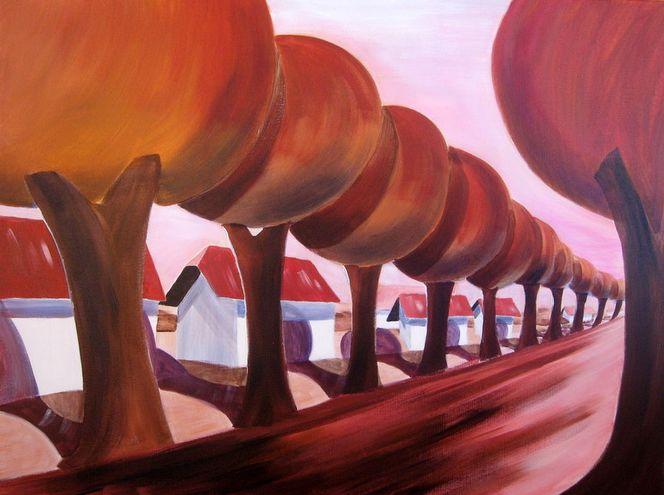 Tief, Perspektive, Rot, Baum, Häuser, Acrylmalerei