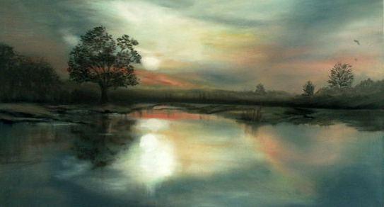 Spiegelung, Rot, Abend, Landschaft, Abendsonne see, Himmel