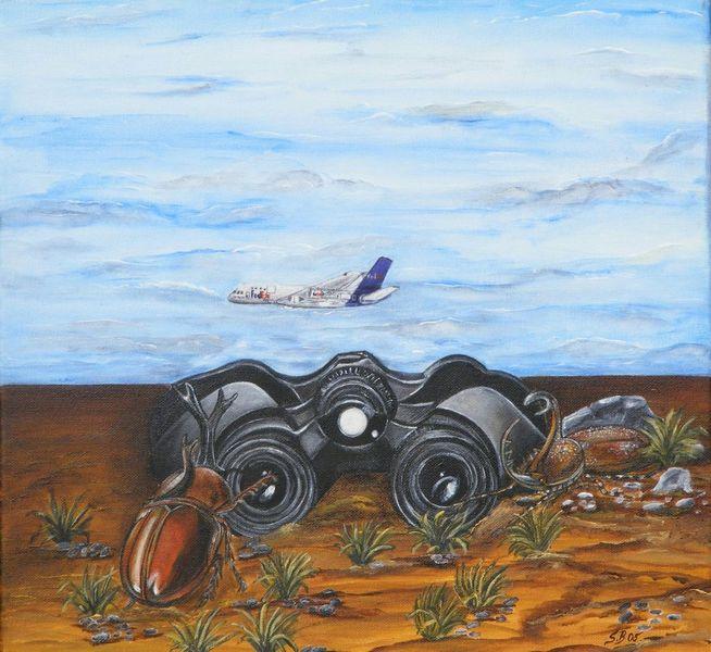 Fernglas, Käfer, Flugzeug, Sand, Malerei