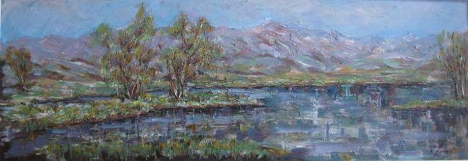 Landschaft, Malerei, Frühling