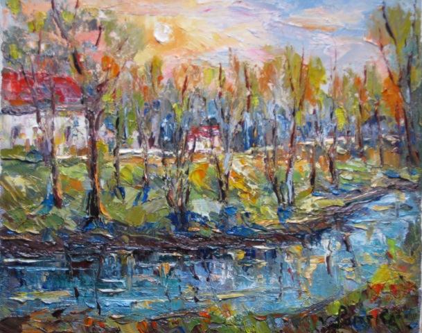 Landschaft, Malerei, Bach