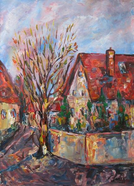 Landschaft, Malerei, Baum