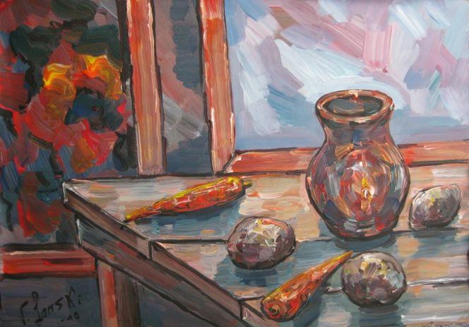 Stillleben, Malerei, Kartoffeln
