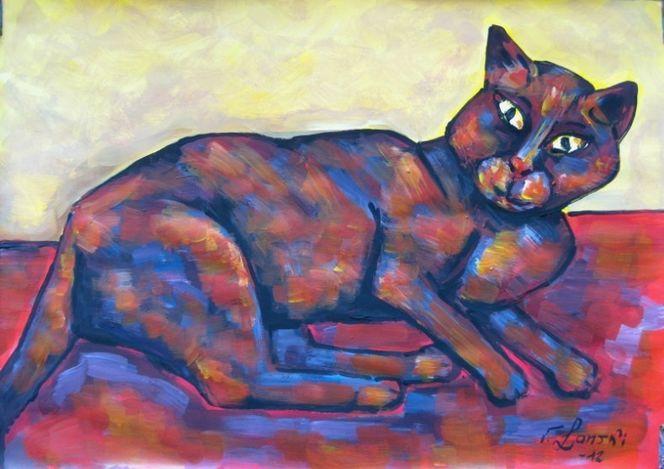 Malerei, Katze,