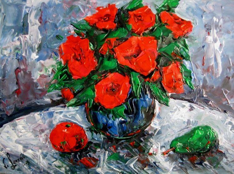 Malerei, Grün, Rot
