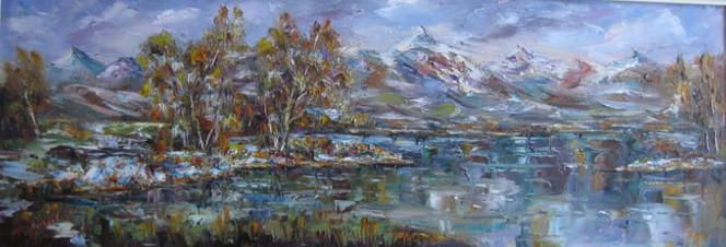Landschaft, Malerei, Schnee