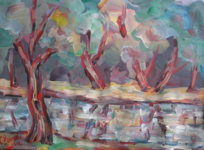 Landschaft, Malerei, Teich