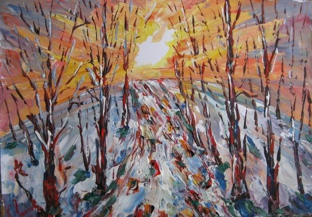 Landschaft, Malerei, Morgen