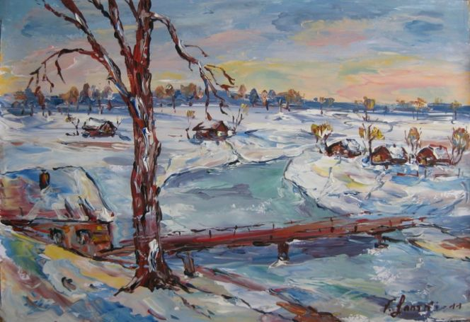 Landschaft, Malerei, Winter
