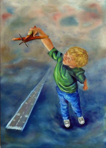 Kind, Ölmalerei, Flugzeug, Spiel, Versinken, Junge