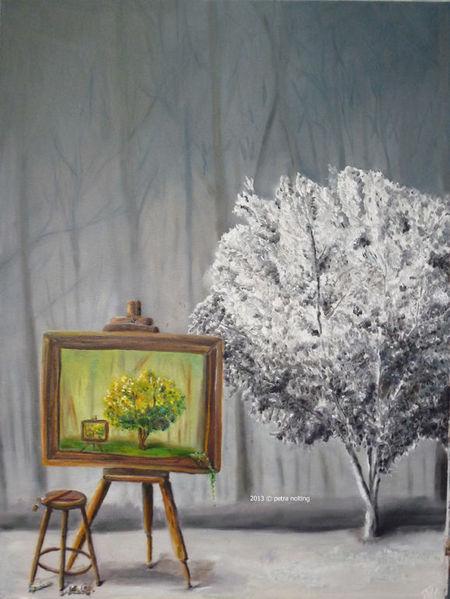 Fantasie, Farben, Bunt, Ölmalerei, Wald, Pinsel