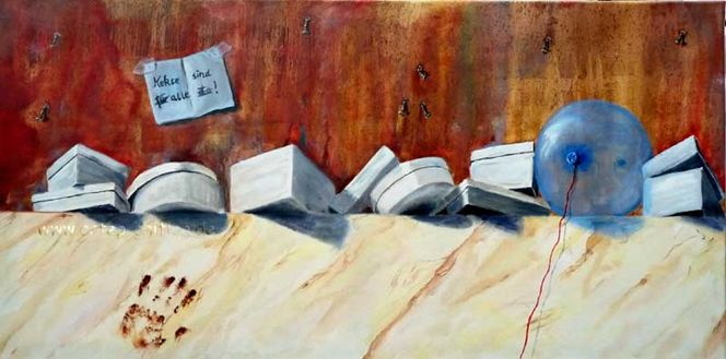 Deckel, Ölmalerei, Handabdruck, Braun, Keks, Luftballon