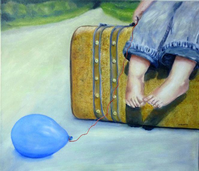 Luftballon, Gnitlon, Weg, Ölmalerei, Reise, Kind