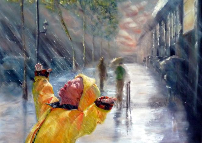 Straße, Baum, Wolken, Kind, Malen, Stadt
