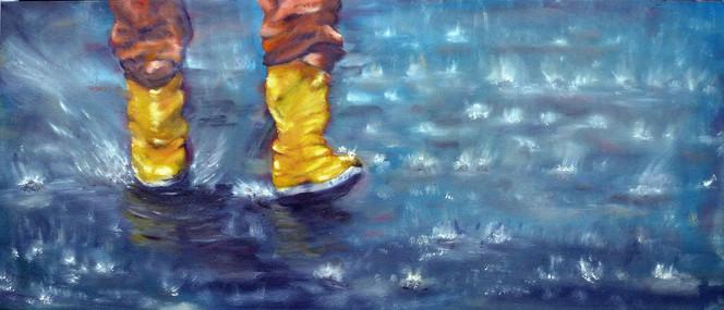 Gelb, Ölmalerei, Gnitlon, Regen, Nass, Gummistiefel