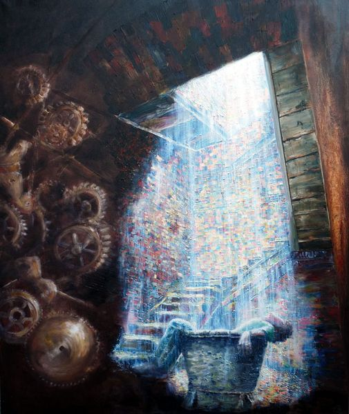 Schatten, Treppe, Ölmalerei, Mann, Raum, Keller