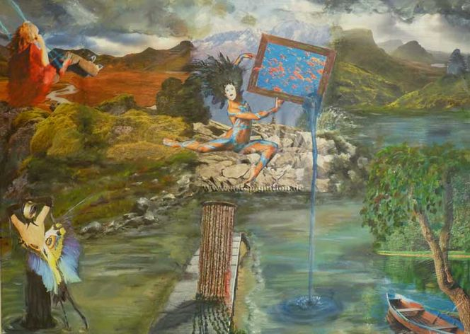 Gedanken, Leben, Sehnsucht, Acrylmalerei, Wasserlauf, Malerei