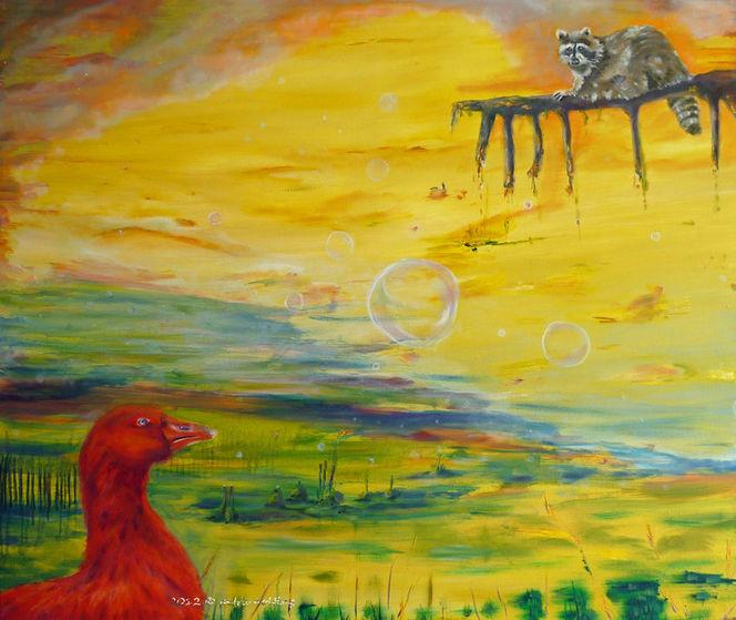 Seifenblasen, Freuen, Ölmalerei, Waschbär, Gelb, Geschichte