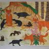 Buntstiftzeichnung, Gouachemalerei, Fuchs, Collage