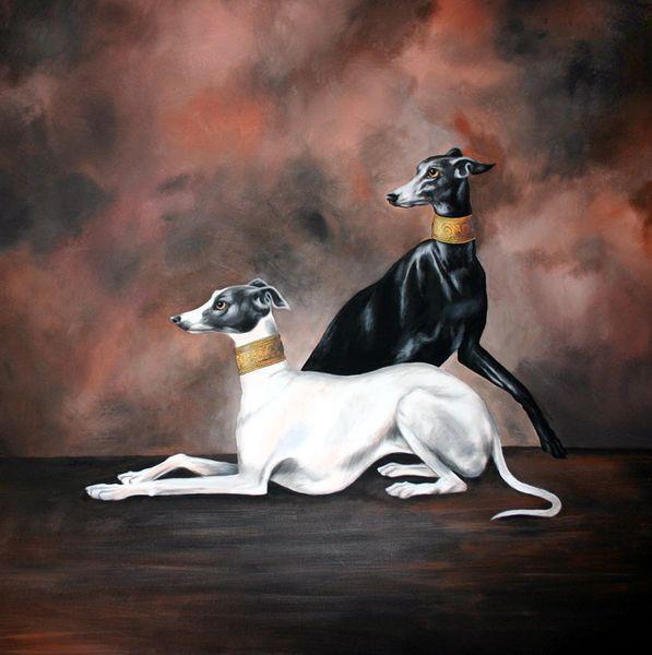 Windhunde, Hundeportrait, Windhund, Malerei, Tiere