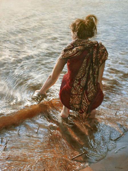 Flasche, Strand, Fluss, Welle, Junge frau, Reflexion