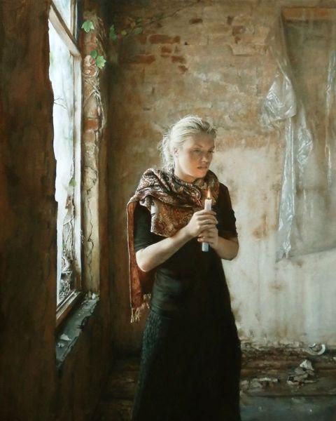 Zimmer, Frau, Kerzenlicht, Ölmalerei, Schal, Fenster