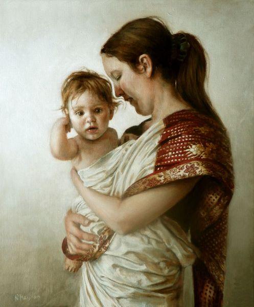 Kind, Portrait, Frau, Malerei, Ölmalerei