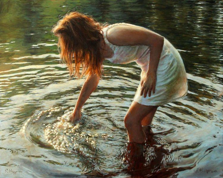 Farben, Welle, Fotorealismus, Wasser, Lichtspiel, Ölmalerei