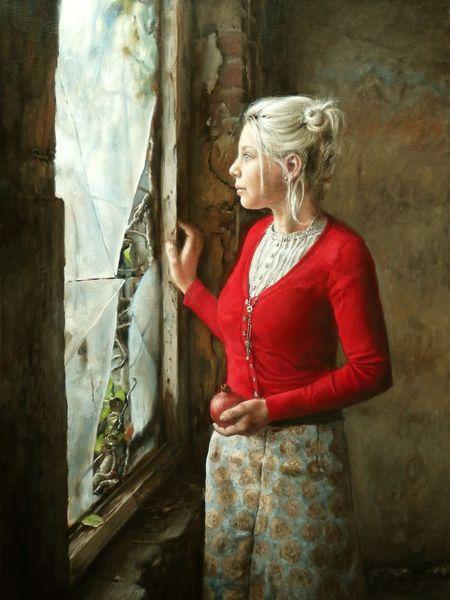 Glas, Model, Frau, Jung, Rot, Fenster