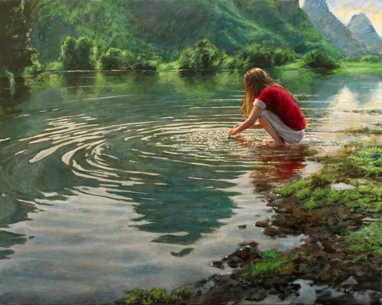 Wasse, Fotorealismus, Ufer, Fluss, Grün, Mädchen