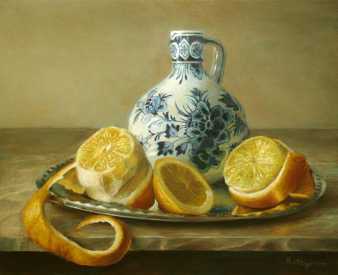 Stillleben, Ölmalerei, Zitrone, Malerei, Vase