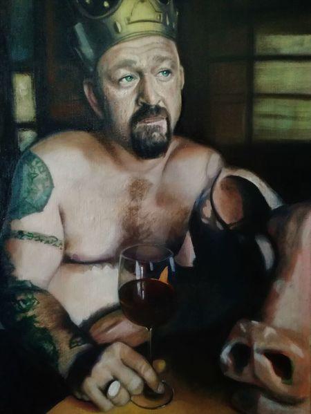 Männlich, Portrait, Weinglas, Figurativ, Schweinekopf, Realismus