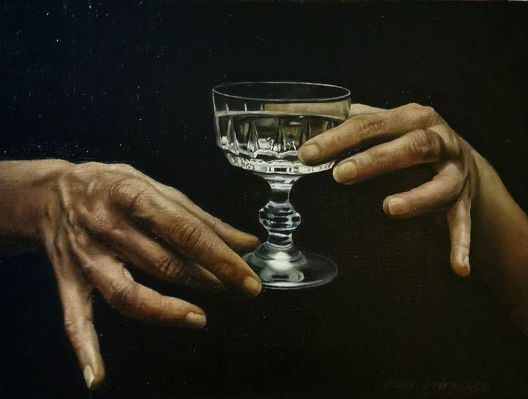 Hyperrealismus, Hände, Malerei, Curdstimmeder, Ölaufleinen, Glas