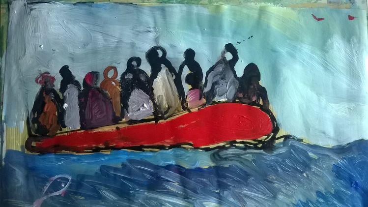 Pappe, Flüchtling, Acrylmalerei, Malerei