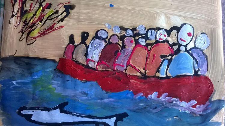 Acrylmalerei, Flüchtling, Pappe, Malerei