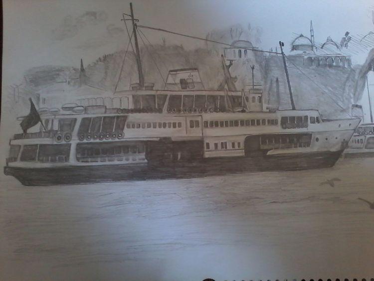Passagierschiffe, Istanbul, Zeichnung, Mischtechnik