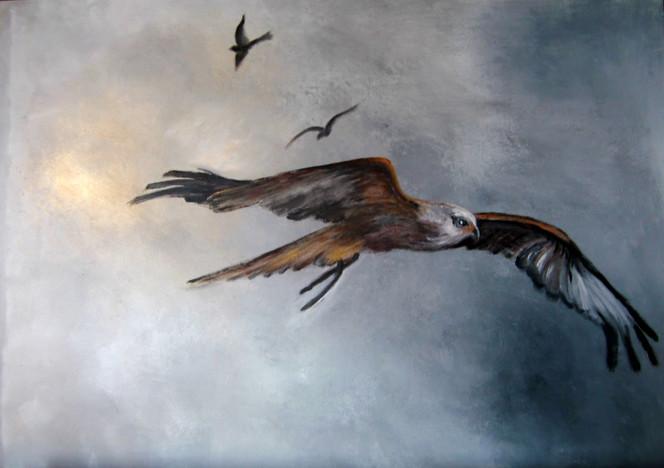 Grau, Himmel, Vogel, Fliegen, Malerei, Tiere