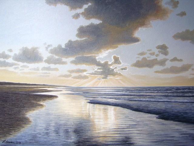 Nordsee, Ölmalerei, Abendstimmung, Ostfriesland, See, Meer